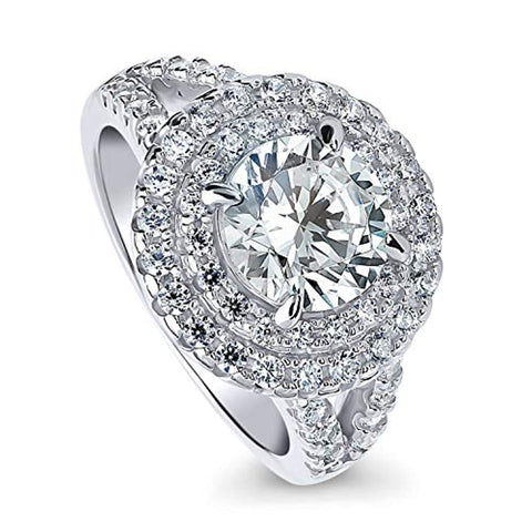 Rhodium Plated Sterling Silver Round Cubic Zirconia CZ Statement Halo Engagement Split Shank Ring