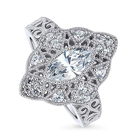 Rhodium Plated Sterling Silver Cubic Zirconia CZ Statement Art Deco Milgrain Filigree Cocktail Fashion Right Hand Ring
