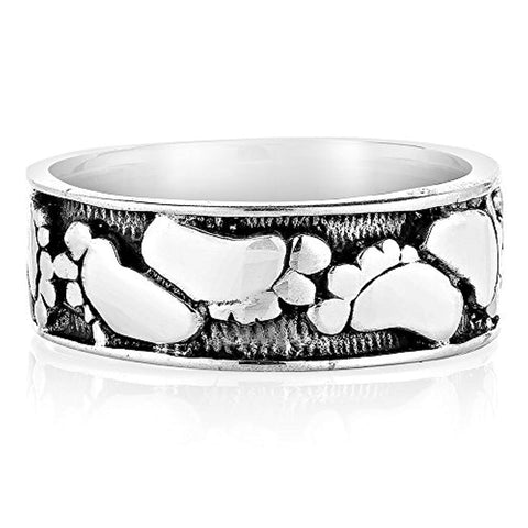 925 Oxidized Sterling Silver Footprints In The Sand Unisex Band Ring Size 6, 7, 8 - Nickel Free