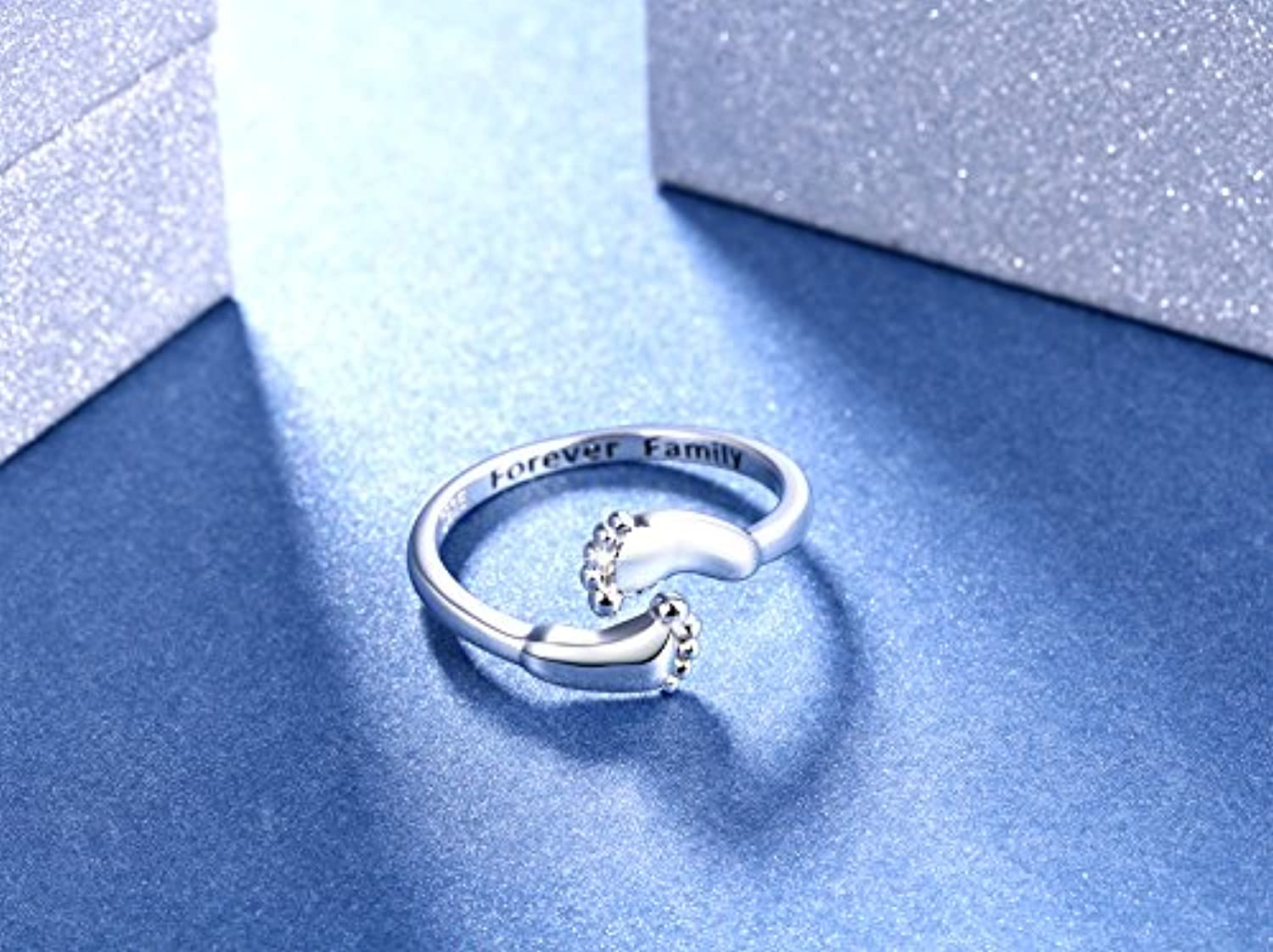 925 Sterling Silver Infinity Love Forever Family Cute Baby Feet Open Wrap Ring for Women Mom Teens,Size 6 7 8