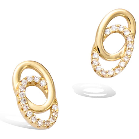 Yellow Gold  plated Infinity Oval Circle Knot Cubic Zirconia Stud Earrings  Fashion Jewelry