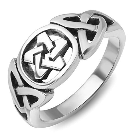 925Sterling Silver Celtic Knot Star Pentacle Pentagram Band Ring Jewelry Size 6, 7, 8