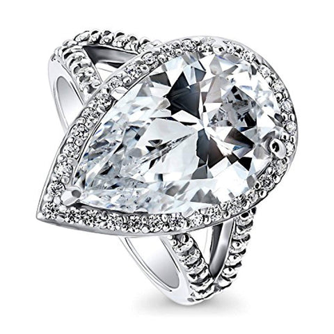 Rhodium Plated Sterling Silver Pear Cut Cubic Zirconia CZ Statement Halo Cocktail Fashion Right Hand Split Shank Ring