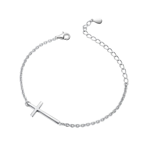S925 Sterling Silver Small Cross Bracelet