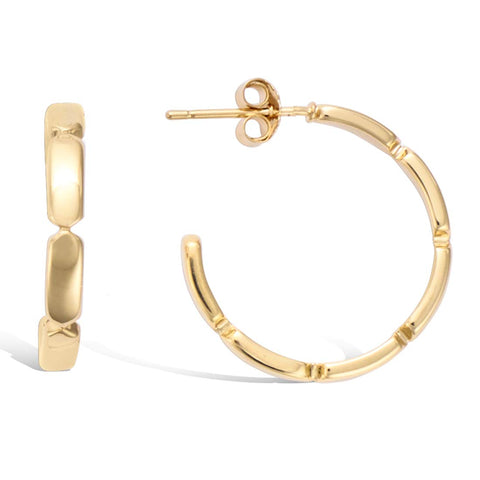 Gold Plated Sterling Silver Polished Minimalist Bamboo Circle Open Small Hoop Earrings Trendy Jewelry Gift Gifts for Women