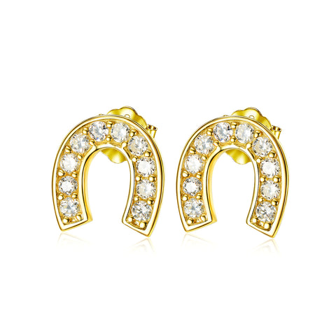 Golden Arched Stud Earring Cubic Zircon 925 Sterling Silver