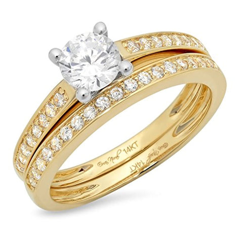 14K Yellow White Gold 1.4 Ct Round Engagement Ring Wedding Anniversary Band Set  For Bridals