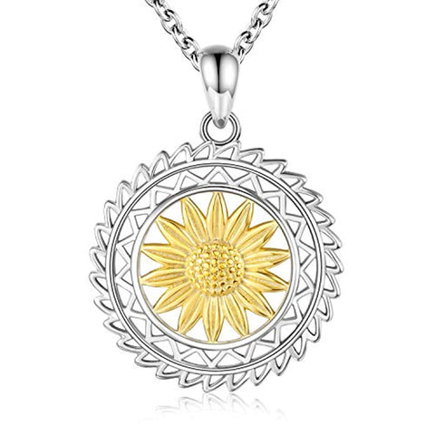 Silver Sunflower  Necklace Pendants