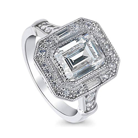 Rhodium Plated Sterling Silver Emerald Cut Cubic Zirconia CZ Statement Halo Art Deco Milgrain Engagement Ring