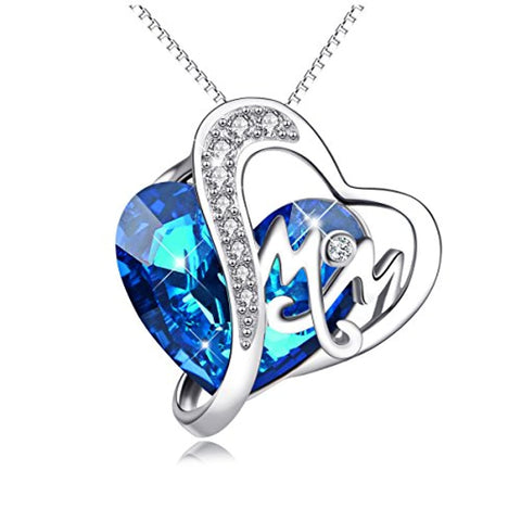 Silver Mom Necklace with Blue Heart Swarovski Crystals