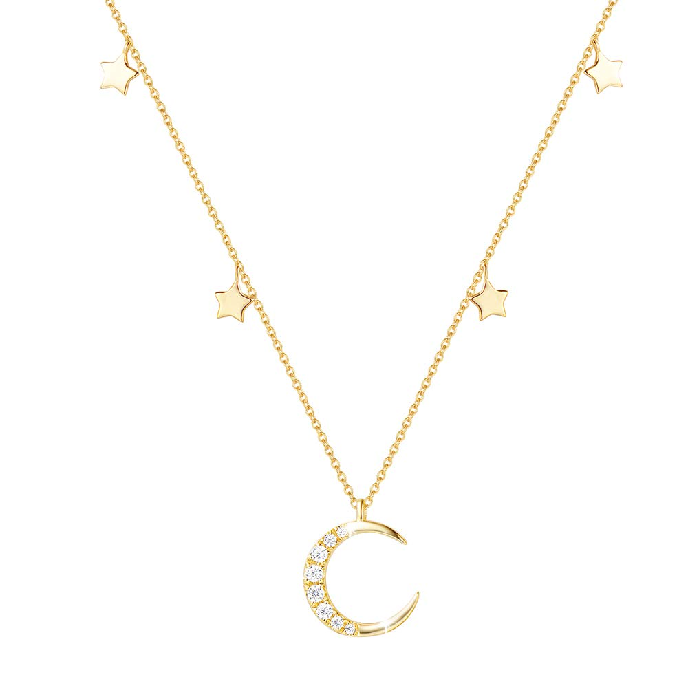 14K Yellow Gold Plated S925 Sterling Silver Moon Stars Choker Necklace Cubic Zirconia CZ Jewelry