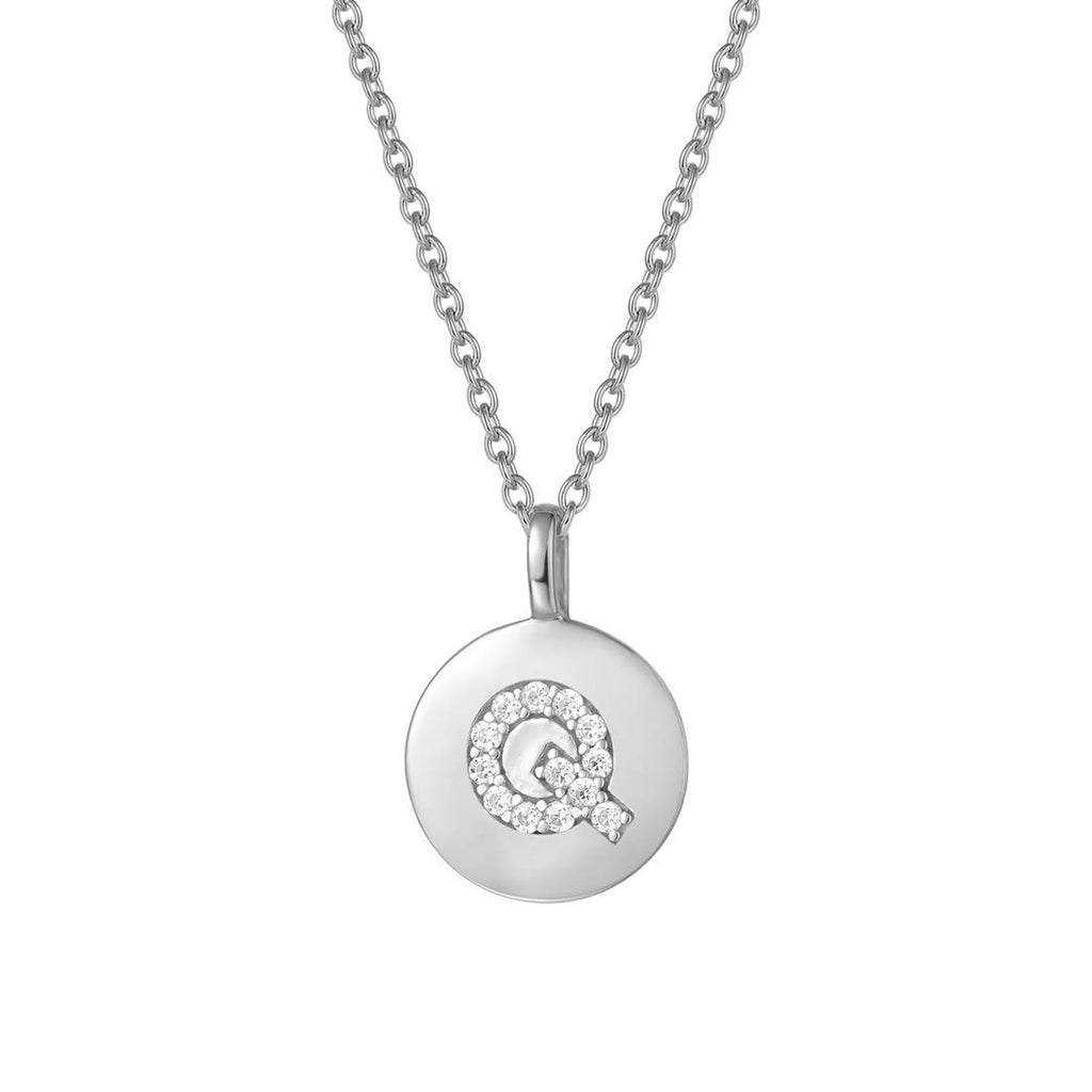 Sterling Silver Initial Pendant Necklace Round Disc CZ Initial White Gold Plated Dainty Alphabet Necklace
