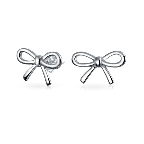 Simple Ribbon Bow Birthday Present Knot Stud Petite Earrings For Women For Teen 14K Gold Plated 925 Sterling Silver