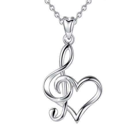 S925 Sterling Silver Heart  Necklace for Women  Music Notes Pendant Jewelry for Women