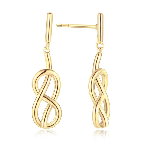 Yellow Gold plated  Infinity  Cubic Zirconia   Dangle Earrings Fashion Jewelry