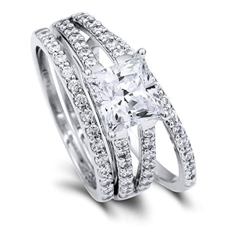 Rhodium Plated Sterling Silver Princess Cut Cubic Zirconia CZ Statement Solitaire Engagement Wedding Split Shank Ring Set