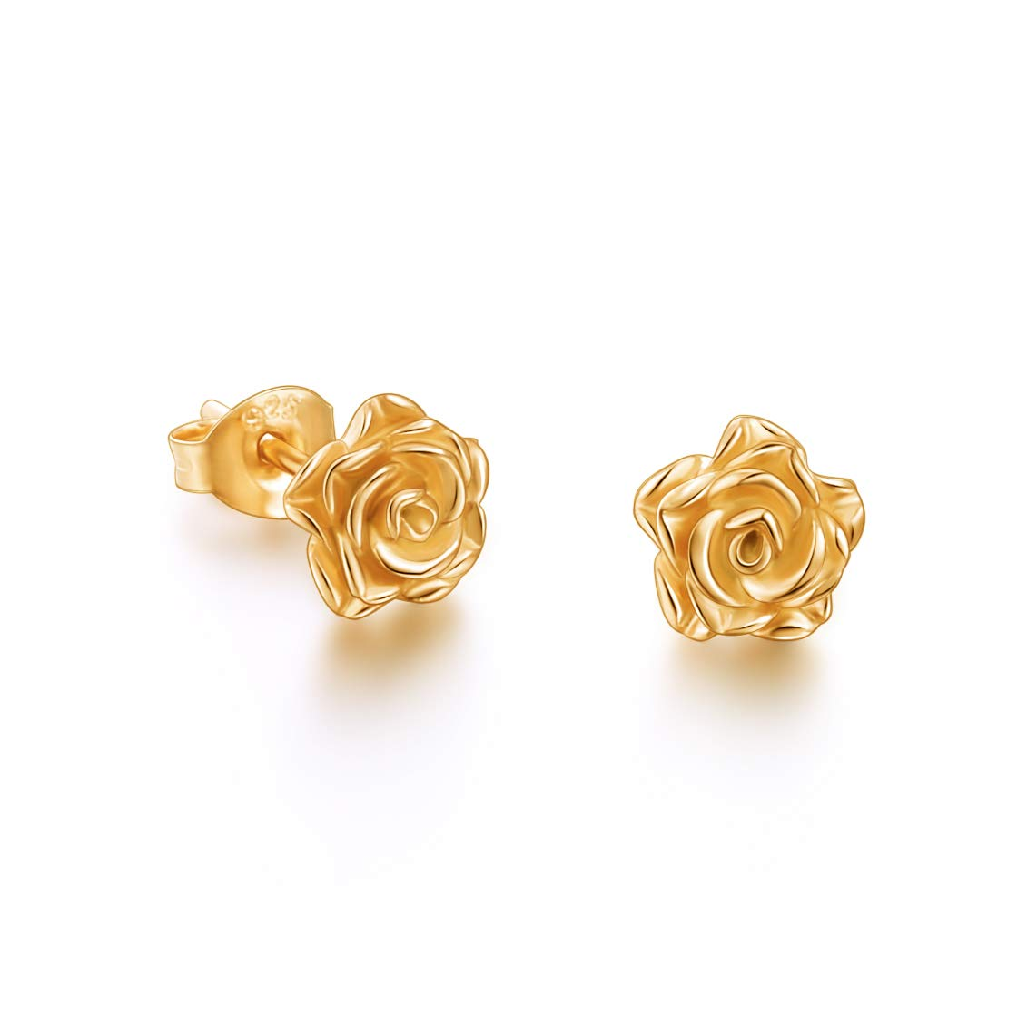 S925 Gold-plated Sterling Silver Rose Flower Earrings