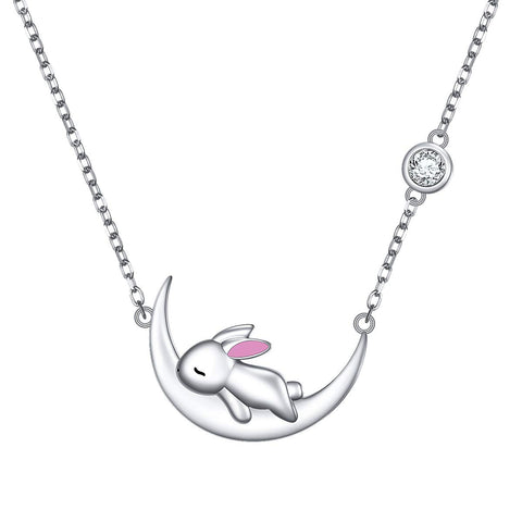 Cute Animal Moon Pendant Necklace