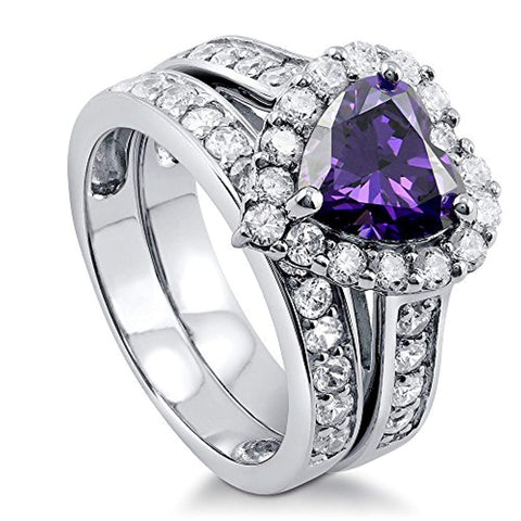 Rhodium Plated Sterling Silver Simulated Amethyst Heart Shaped Cubic Zirconia CZ Statement Halo Engagement Wedding Ring Set
