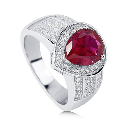 Rhodium Plated Sterling Silver Simulated Ruby Pear Cut Cubic Zirconia CZ Statement Halo Cocktail Fashion Right Hand Ring