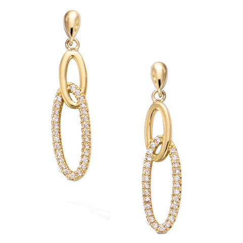 Yellow Gold  plated  Infinity Oval Circle Knot Cubic Zirconia Dangle Earrings Fashion Jewelry