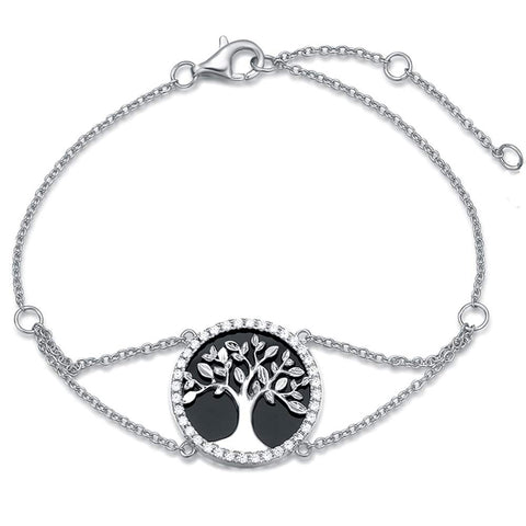 Sterling Silver Tree of Life Bracelet Minimalist Natural Onyx/Cubic Zirconia CZ Charm Chain Bracelet Jewelry Gifts Gifts for Women Mom Lover Family with Gorgeous Jewelry Box