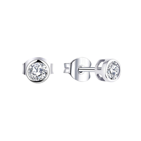 14k White Gold Moissanite Diamond Stud Earrings