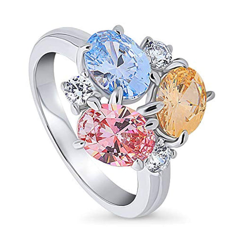 Rhodium Plated Sterling Silver Cluster Cocktail Fashion Right Hand Ring Made with Swarovski Zirconia Morganite Color