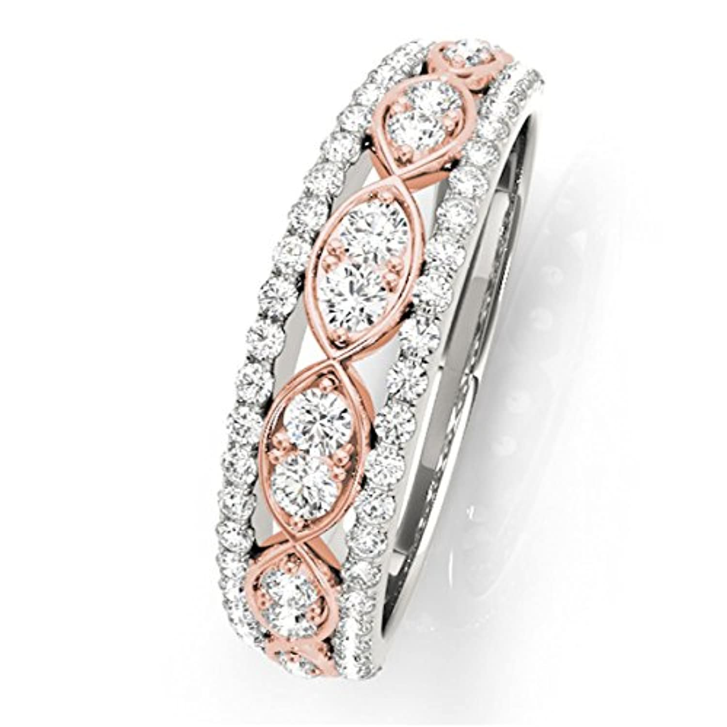 14K White and Rose Gold With 1/2 Ct Brilliant Diamond 0.50 Carat Round Untique Two-Tone Diamond Wedding Band for Ladies Bridal in Engagement