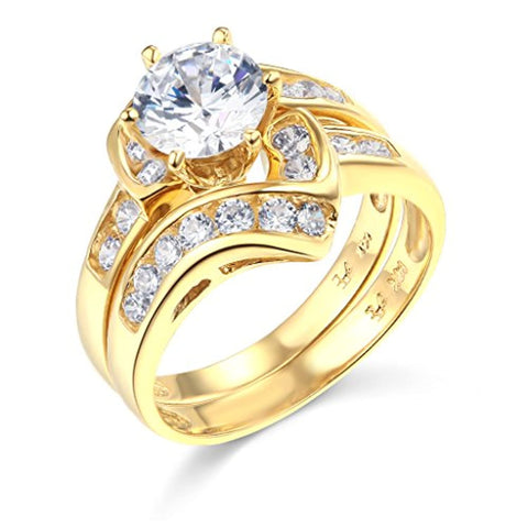 14k Yellow Gold Wedding Engagement Band and Wedding Ring 2 Piece Set For Lovers