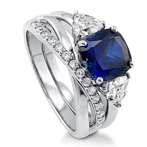 Rhodium Plated Sterling Silver Simulated Blue Sapphire Cushion Cut Cubic Zirconia CZ 3-Stone Infinity Engagement Wedding Ring Set