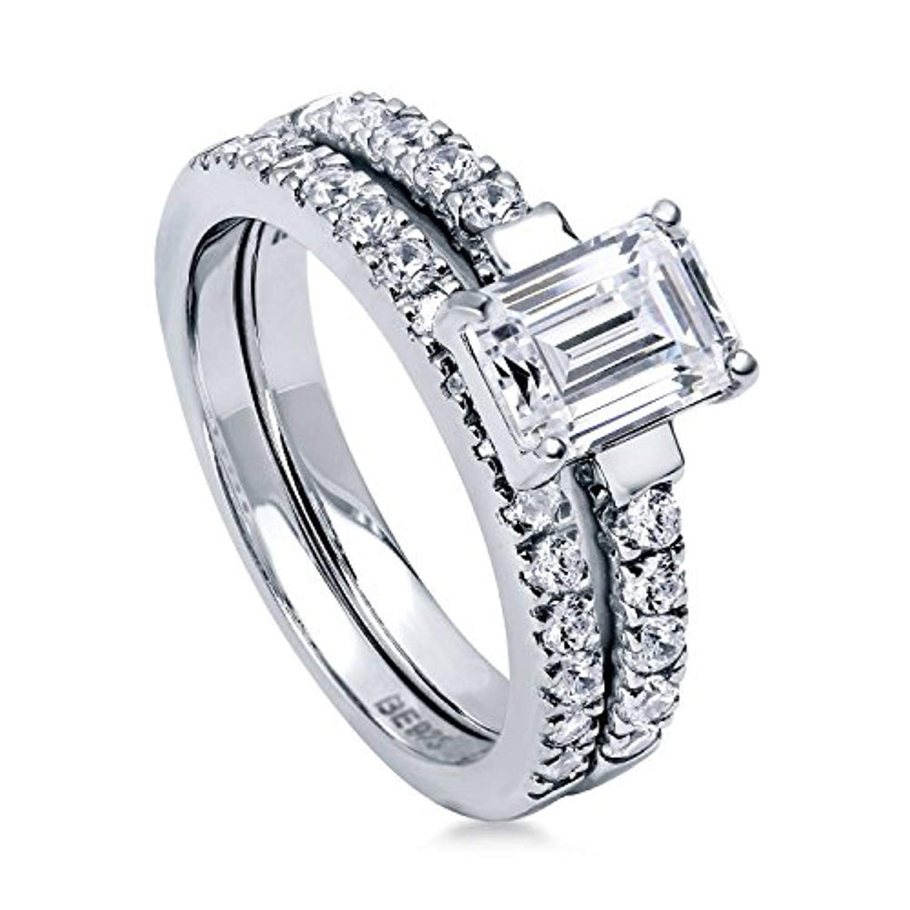 Rhodium Plated Sterling Silver Emerald Cut Cubic Zirconia CZ Solitaire Engagement Wedding Ring Set