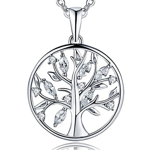 Silver Cubic Zirconia Tree of Life Family Pendant Necklace
