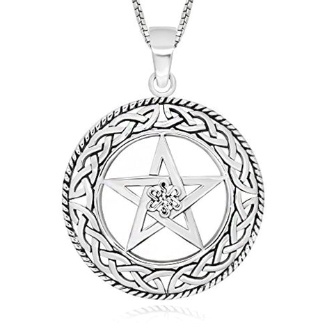 Celtic Knot Filigree Star Round Pendant Necklace