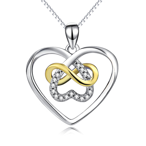 Heart Knot Different Plating Necklace Cubic Zirconia Silver Necklace
