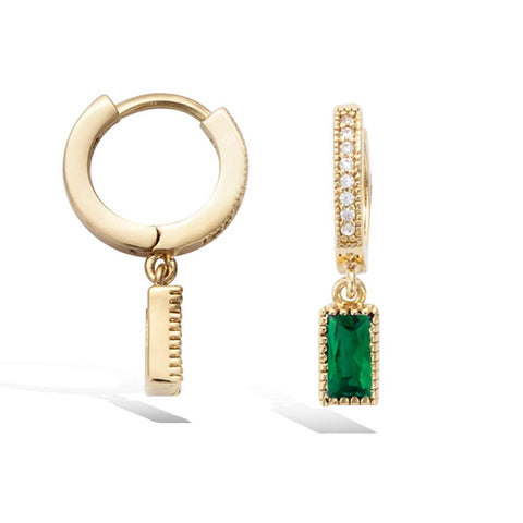 Yellow Gold plated Small Huggie Hoop Earrings Created Emerald CZ Tiny Dangle Drop Earrings