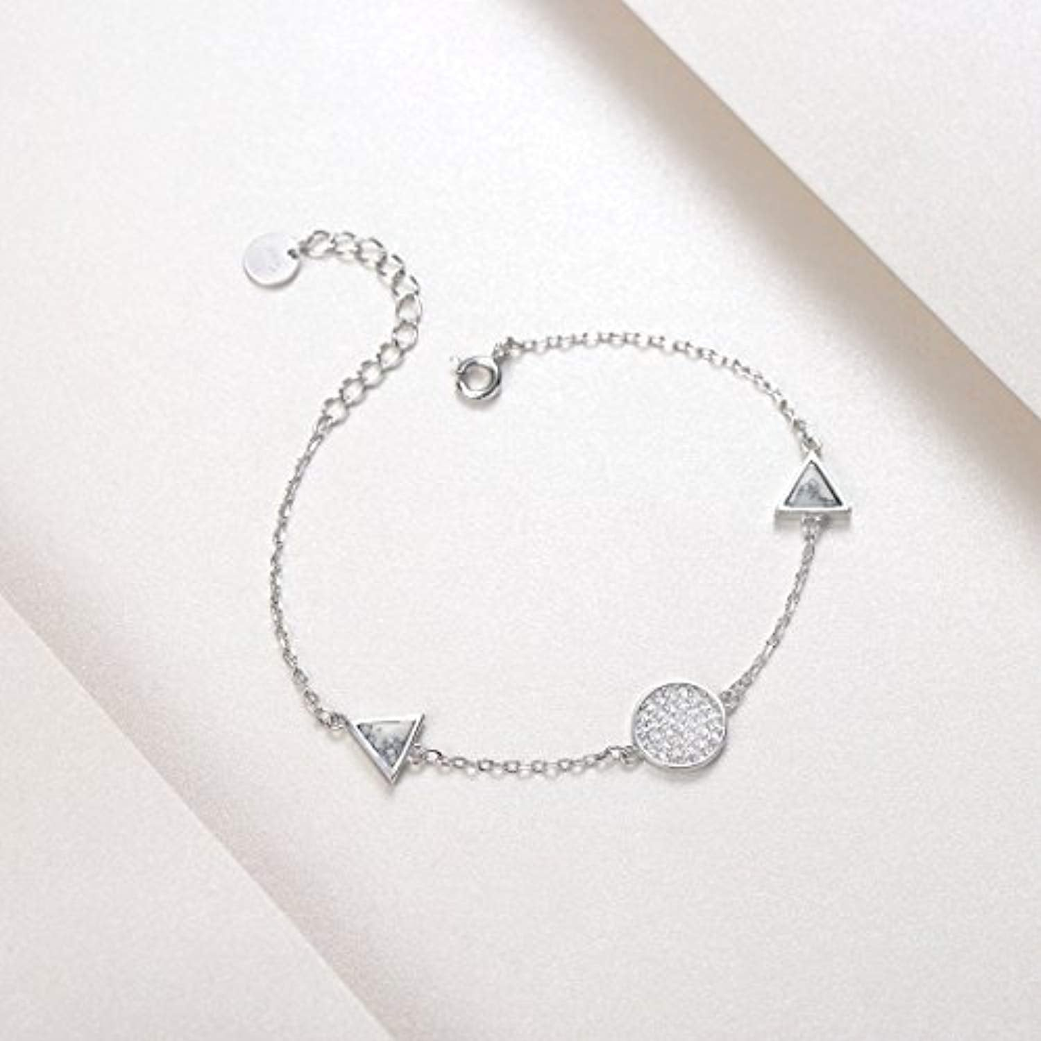925 Sterling Silver Heart Charm Bracelet Setting Cubic Zirconia CZ Jewelry for Women