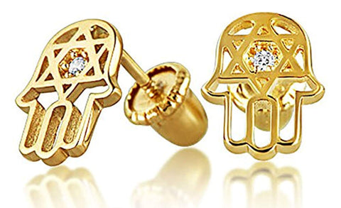 Tiny Minimalist CZ Accent Hamsa Star Of David Jewish Bat Mitzvah Stud Earrings For Teen Real 14K Gold Screwback
