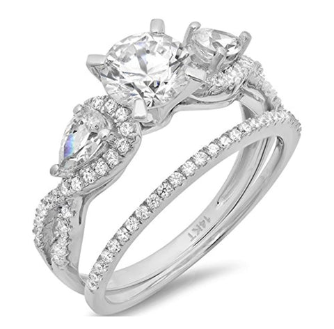 2.2 Ct Round Pear Cut Solitaire Bridal Engagement Promise Wedding Anniversary Ring Band Set 14K White Gold For Ladies