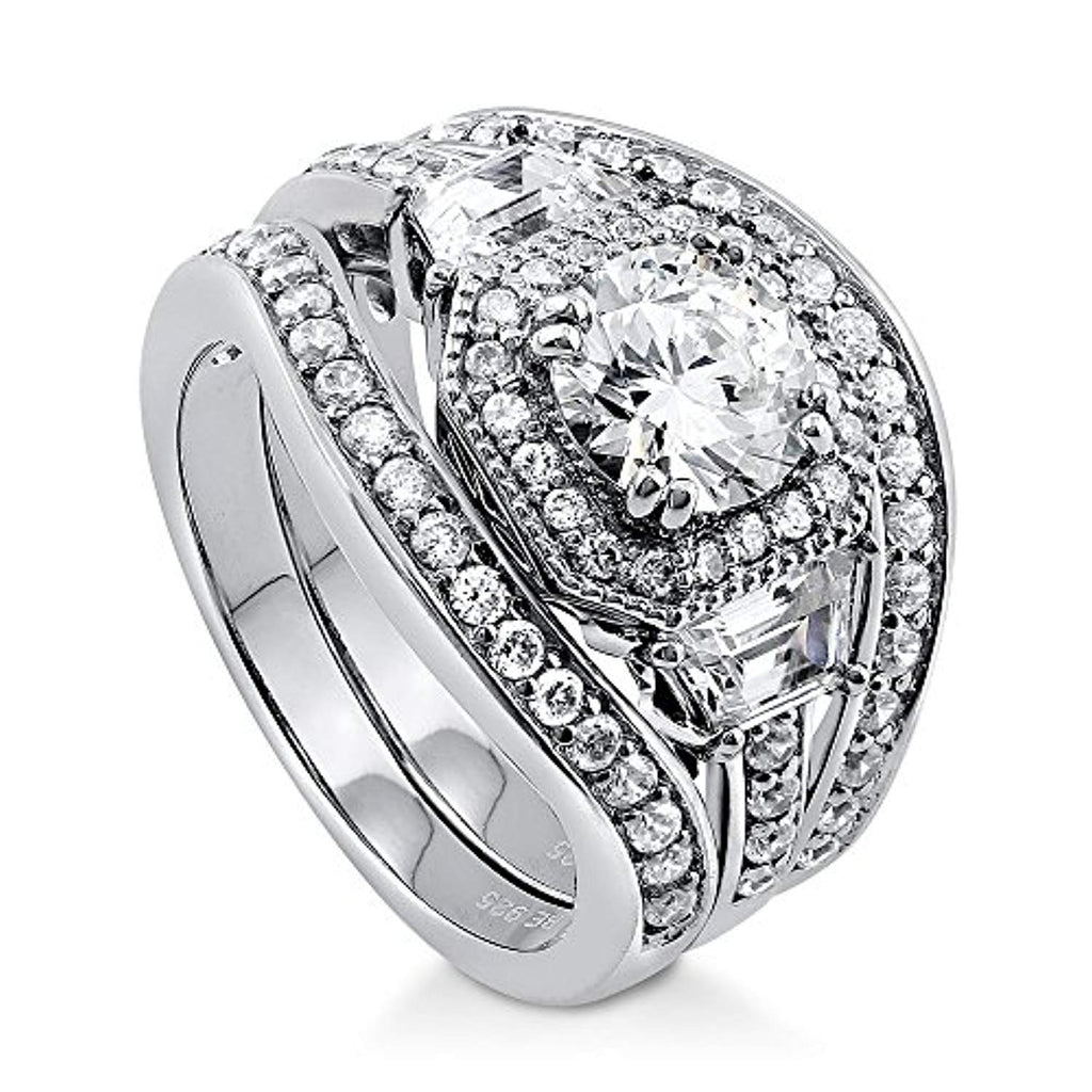 Rhodium Plated Sterling Silver Round Cubic Zirconia CZ Art Deco Halo Engagement Wedding Ring