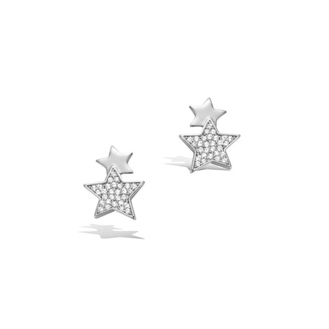 14K White Gold Plated S925 Sterling Silver Cubic Zirconia CZ Stars Stud Earrings Trendy Jewelry