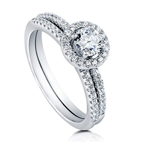 Rhodium Plated Sterling Silver Halo Promise Engagement Wedding Ring Set Made with Swarovski Zirconia Round