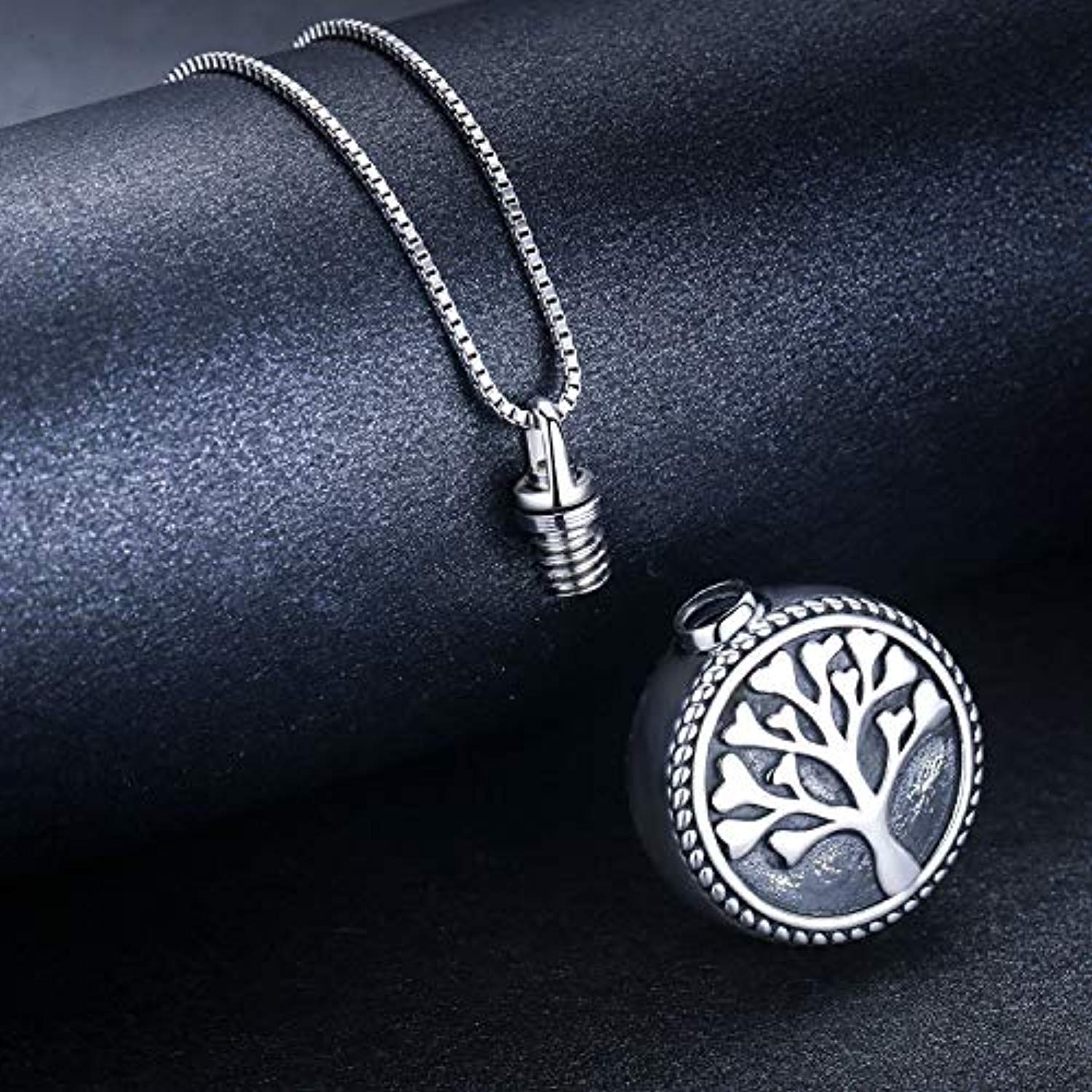 925 Sterling Silver Urn Necklace for Ashes-Round Cremation Keepsake Pendant Tree of Life Ashes Necklace Jewelry Gifts for Men Women