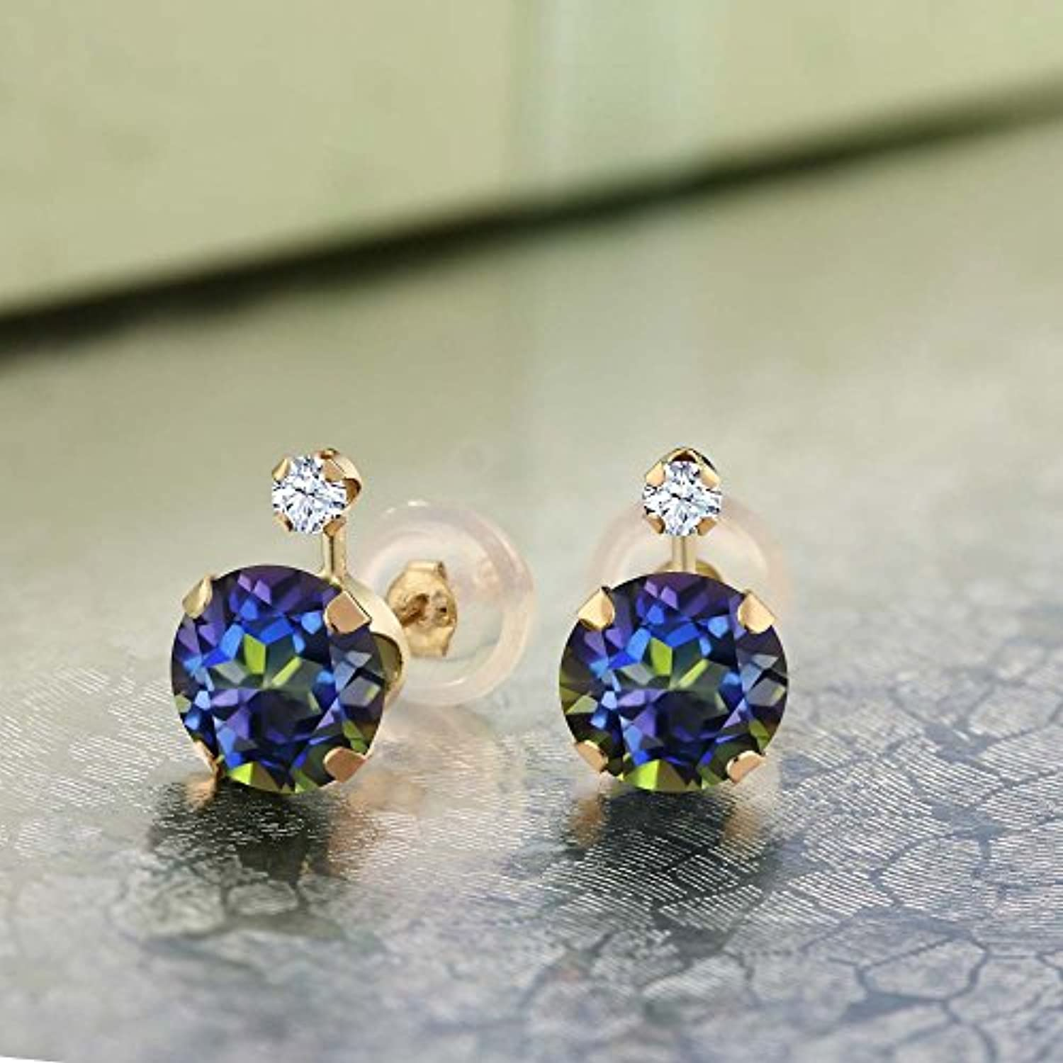 14K  Gold Blue Mystic Topaz and White Created Sapphire Stud Earrings For Women