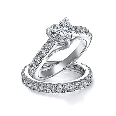 1CT Cubic Zirconia 925 Sterling Silver AAA CZ Heart Shaped Anniversary Wedding Engagement Ring Pave Band Set For Women
