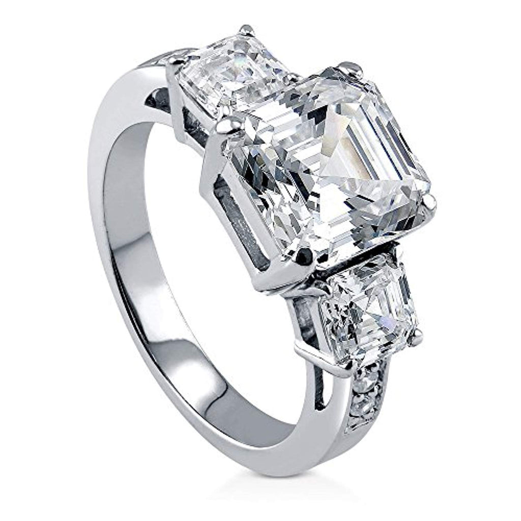 Rhodium Plated Sterling Silver Asscher Cut Cubic Zirconia CZ 3-Stone Anniversary Engagement Ring