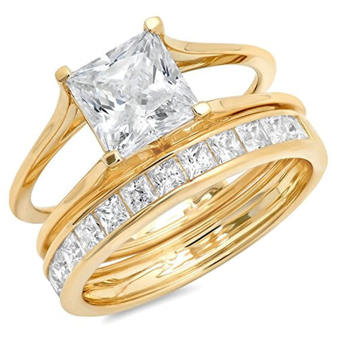 3.6 Ct Princess Cut Solitaire Engagement Promise Wedding Bridal Anniversary Ring Set 14K Yellow Gold