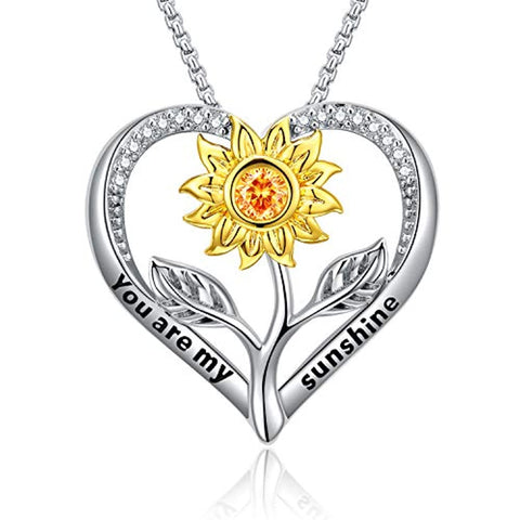 Silver Sunflower Love Heart Pendant Necklace