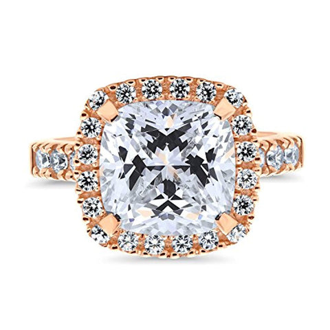 Rose Gold Plated Sterling Silver Cushion Cut Cubic Zirconia CZ Statement Halo Cocktail Fashion Right Hand Ring
