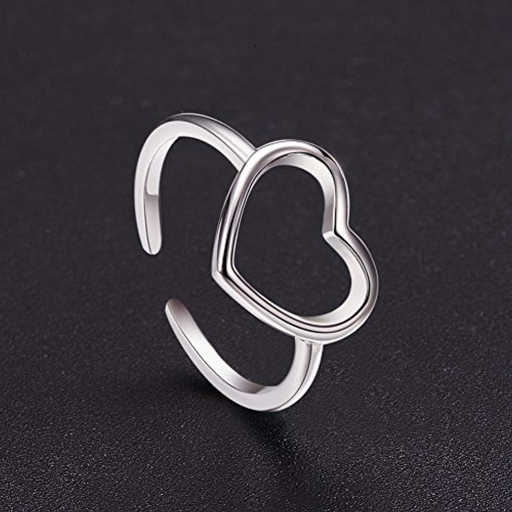 Hollow Heart Cuff Ring 925 Sterling Silver 24K Gold/Rose Gold Plated Open Rings for Woman,Adjustable